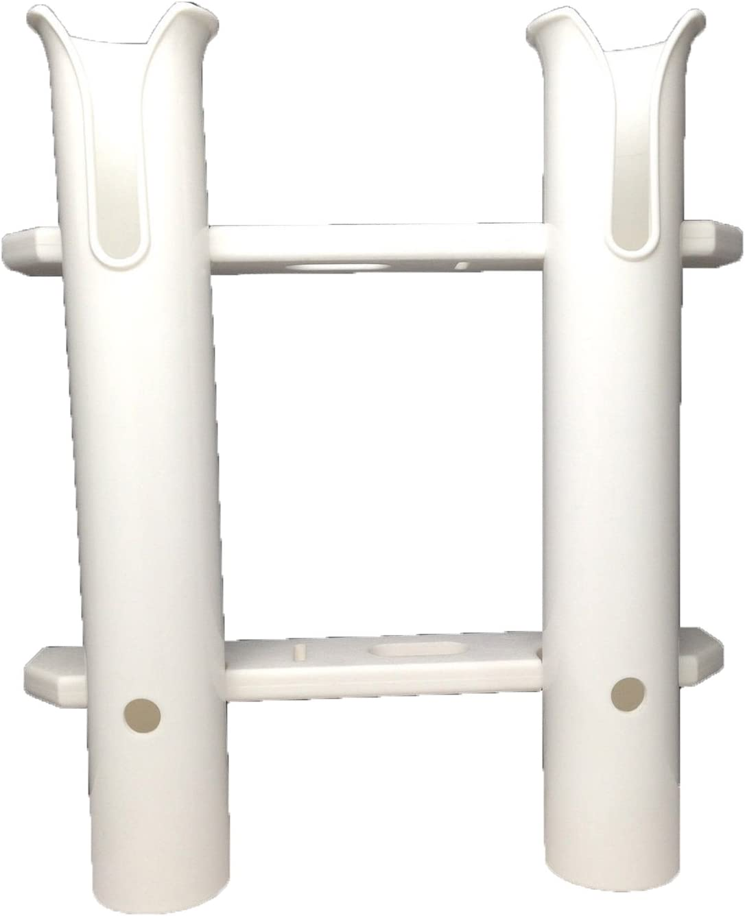 Pactrade Marine Boat White UV Stabilized Plastic Fishing Rod Holder Two Tube Dual