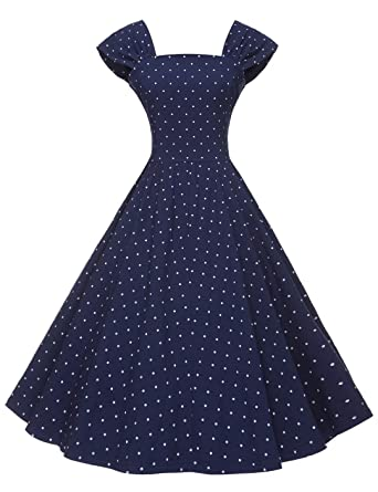 4010edebeff GownTown Women s 1950s Polka Dot Vintage Dresses Audrey Hepburn ...