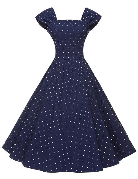 36e6bdf20a8fc GownTown Women's 1950s Polka Dot Vintage Dresses Audrey Hepburn Style Party  Dresses
