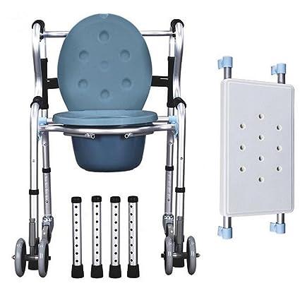 Plegable ligero silla con inodoro aluminio baño asiento para inodoro asiento cinturón rueda/movilidad discapacidad? Ancianos ayuda caminar silla: Amazon.es: ...