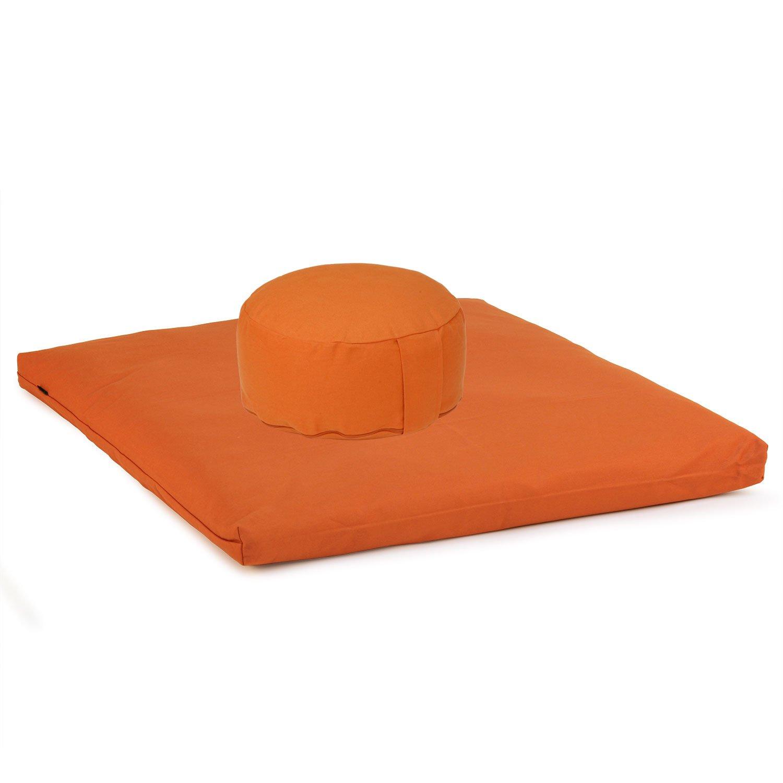 Medi-Set Basic I: Meditationskissen RONDO BASIC (Dinkel) und Meditationsmatte ZABUTON BASIC, Orange, Meditationsset, Meditationszubehör, Meditationsunterlage 80 x 80cm