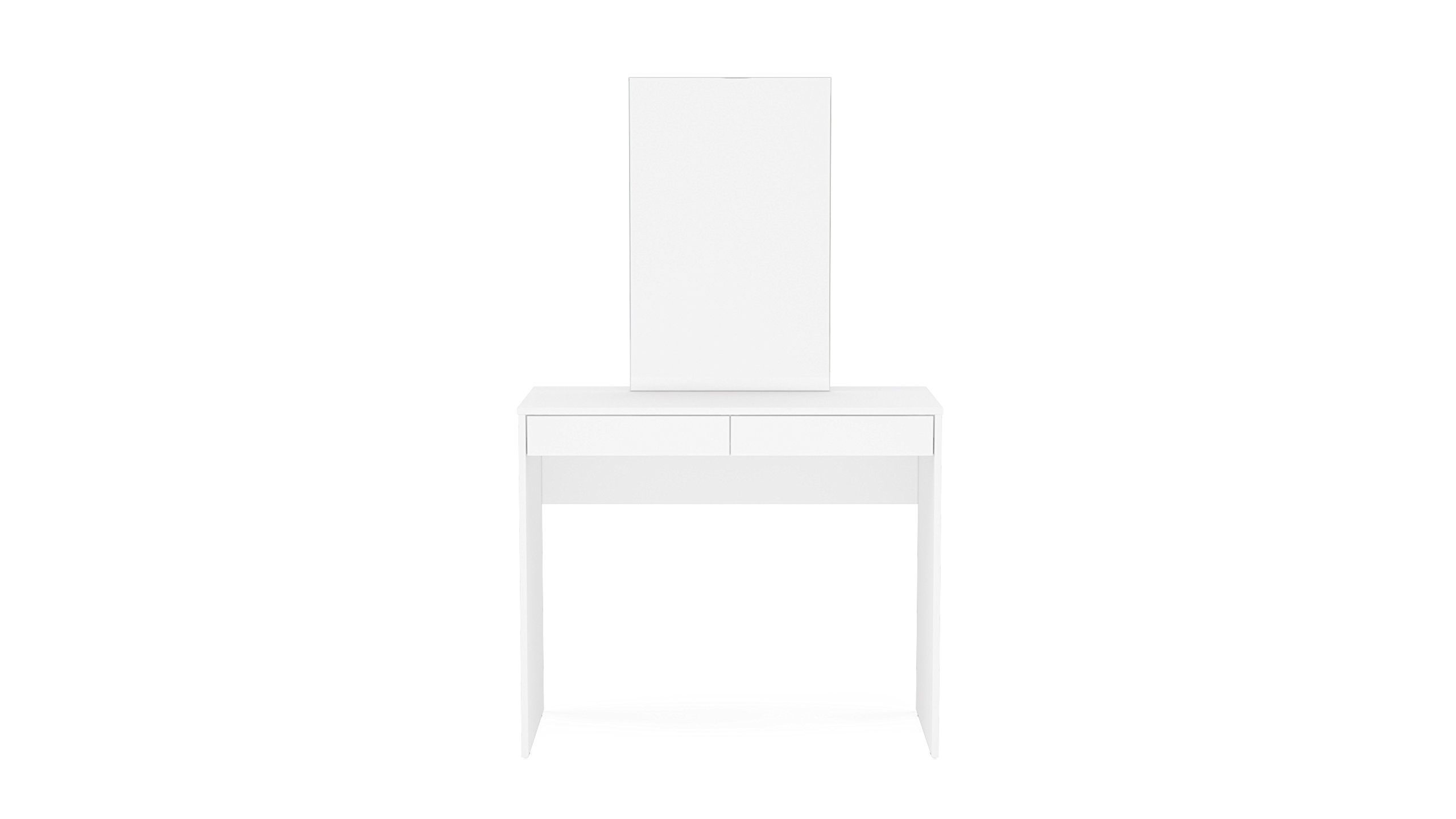 Polifurniture 401601980009 Conquista Vanity/Makeup Table with 2 Drawer & Mirror, White
