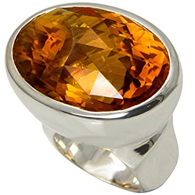 8145dc66b824 Pesado macizo citrino Anillo Oro herrero trabajo (Plata de ley 925) - oro  topacio 36 x 25 mm con valor de Expertise  Amazon.es  Joyería