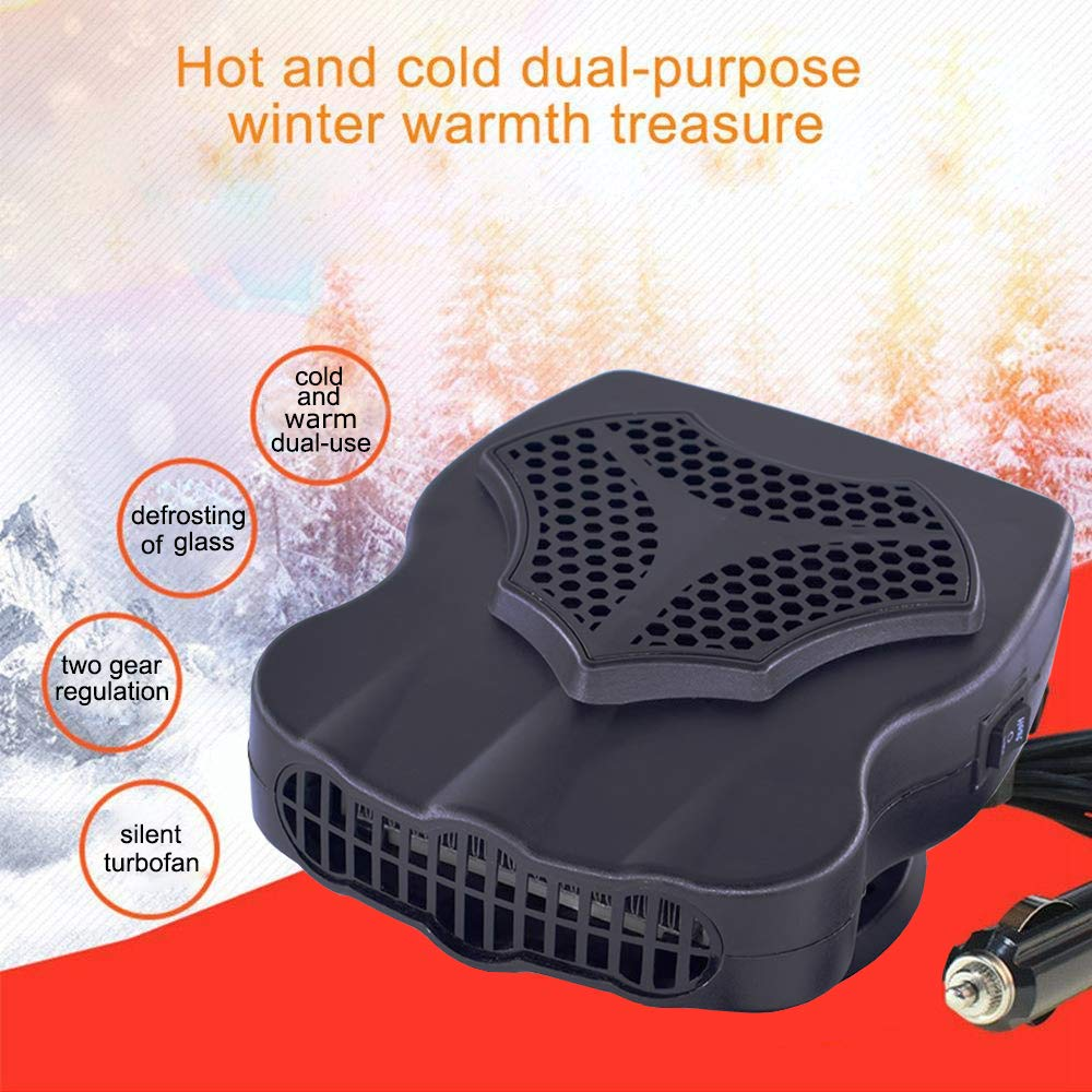 2 in 1 Portable Car Heater Windshield Defroster, Auto Vehicle Electronic Heater Window Windscreen Defrost Defogger 30s Fast Heating/Cooling Fan 12V for All Cars