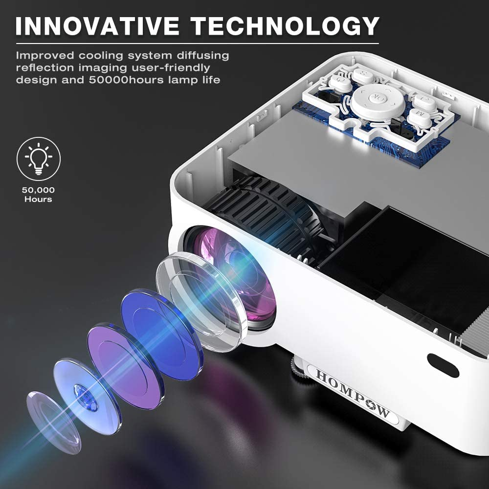 Hompow Smartphone Portable Video Projector uses the upgraded 2020 noise reduction technology which makes you concentrate on enjoying your movies.