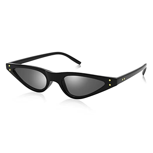 7d2061cf107 Livhò Retro Vintage Narrow Cat Eye Sunglasses for Women Clout Goggles  Plastic Frame (Black