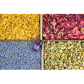 bMAKER Bulk Flower Kit Chamomile, Ultra Blue Lavender, Red Rose Buds & Petals, Marigold - 2 Cup Each Packet- Included Lavender Essential Oil