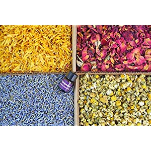 bMAKER Bulk Flower Kit Chamomile – Ultra Blue Lavender, Red Rose Buds & Petals, Marigold – 2 Cup Each Packet- Included Lavender Essential Oil