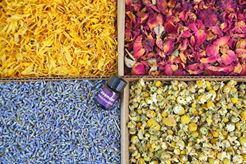 bMAKER Bulk Flower Kit Chamomile, Ultra Blue Lavender, Red Rose Buds & Petals, Marigold - 2 Cup Each Packet- Included Lavender Essential Oil (Scented Herbal Salt Bath)