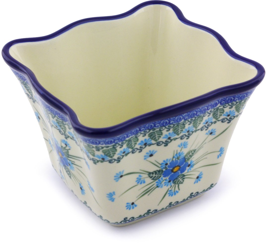 Polish Pottery 6¼-inch Planter made by Ceramika Artystyczna (Forget Me Not Theme) + Certificate of Authenticity