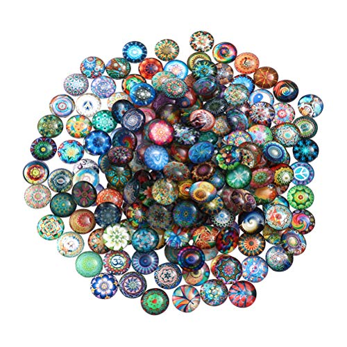 SUPVOX 100pcs 12mm Glass Dome cabochon Half Round Flatback Mosaic Tiles for Jewelry Making