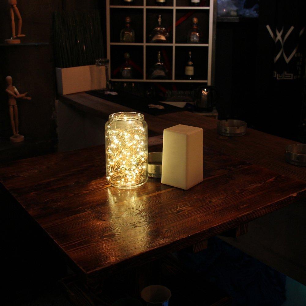 2 x 20er Micro LED Lichterkette Batterie betrieb und 2 Programm Auf 7ft 2Meter Silberdraht für Party, Garten, Weihnachten, Halloween, Hochzeit, Beleuchtung Deko(Warmweiß)