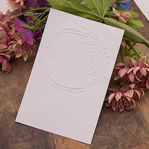 4.1 by 5.7 Inches Circle Frame Leaves Plastic Template Embossing Folders for Paper-Card Scrapbooking Christmas Embossing Folders