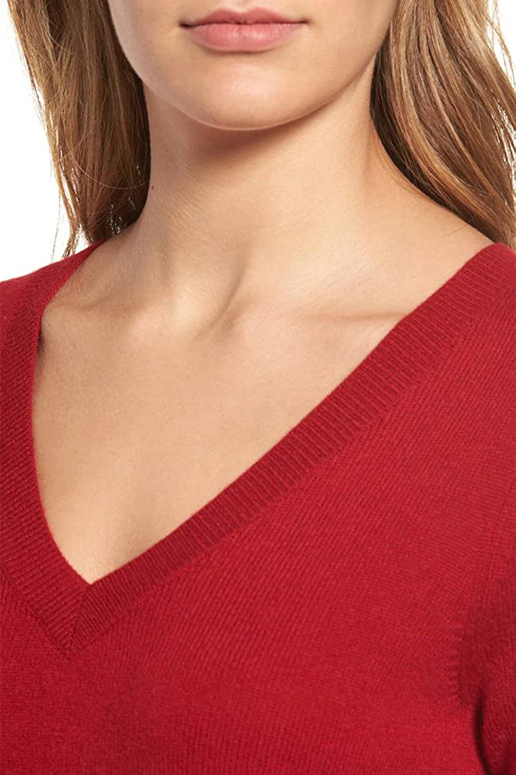 Viottiset Womens V-Neck Long Sleeve Ribbed Knit Pullover Sweaters Jumpers