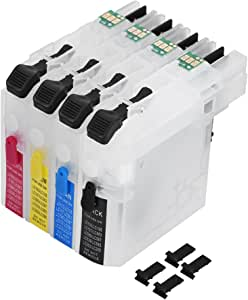 ASHATA Universal Refillable Cartridge with Chip LC261//LC263 Refillable Lnk Cartridges for Brother DCP-J562DW//MFC-J480DW//680DW