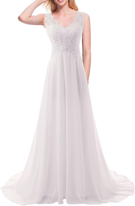 JAEDEN V-cuello del A-line del cord¨®n de la gasa larga playa vestido de novia vestido de novia: Amazon.es: Ropa y accesorios