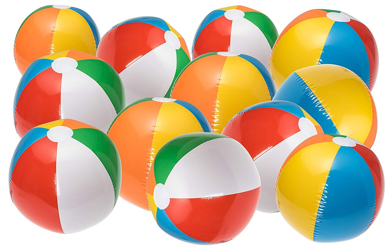 OIG Brands 16'' Rainbow Inflatable Beach Balls Party Pack - Beach Pool Party Toys (12 Pack)