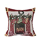 Riverbyland Fireplace Linen Decorative Throw Pillow Cover 18''
