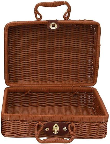 Minsa 1 x Maleta de mimbre caja de almacenamiento cesta de picnic cesta de almacenamiento vintage maleta accesorios para picnic, senderismo, camping, ...
