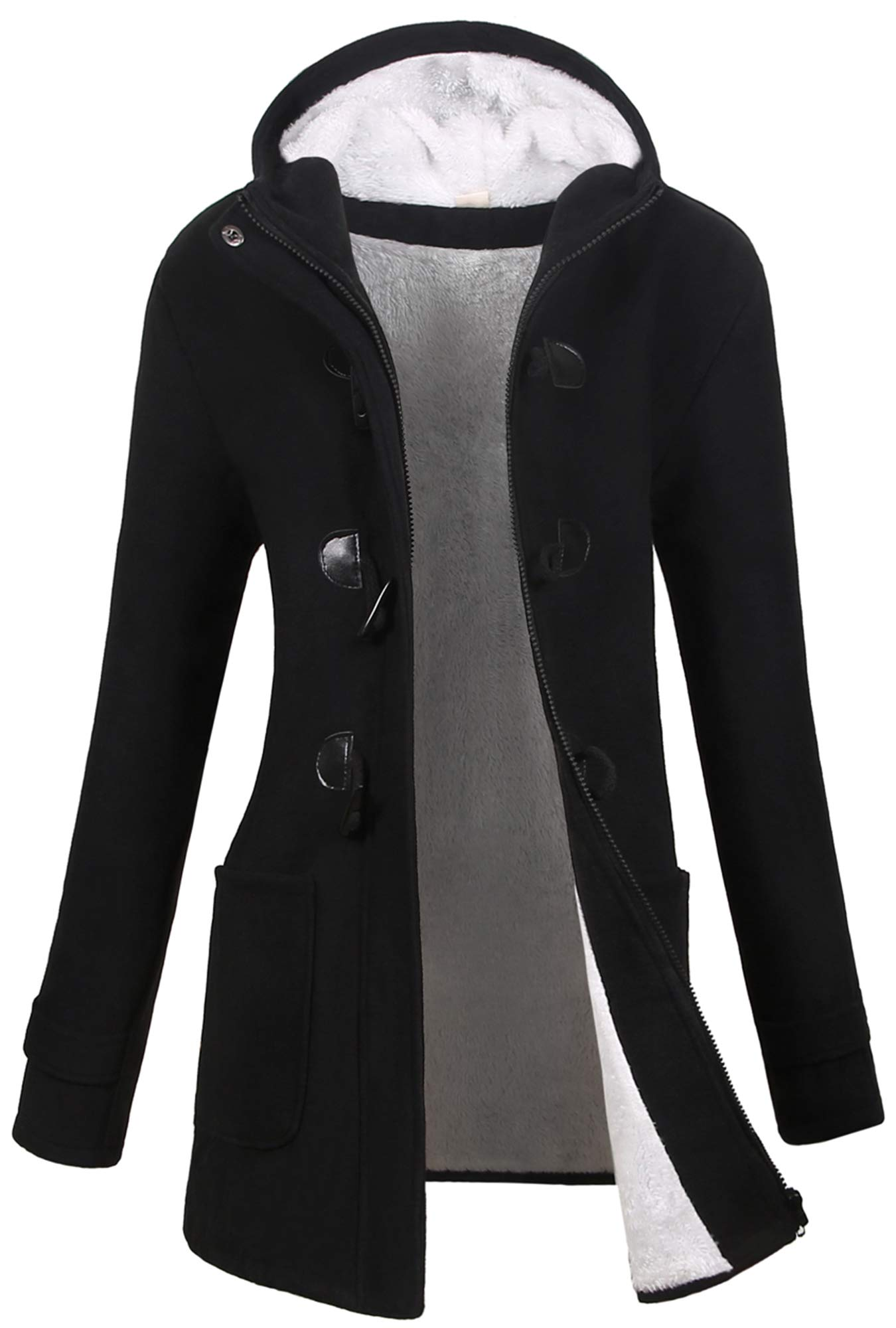 VOGRYE Womens Winter Fashion Outdoor Warm Wool Blended Classic Pea Coat Jacket (FBA) (M, Black2-Thicker) by VOGRYE
