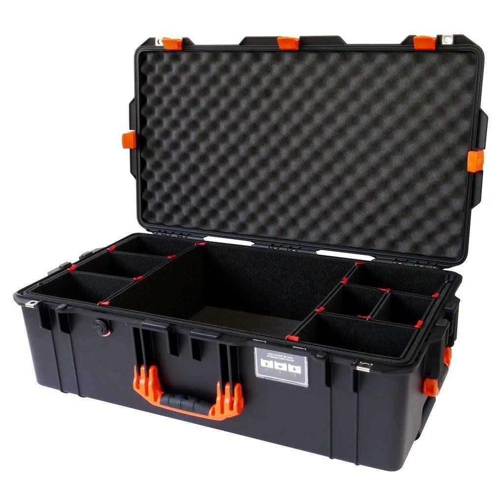 ブラックwithオレンジハンドル&ラッチPelican 1615ケース。With trekpakディバイダー。With Wheels。   B075CQ8M9H