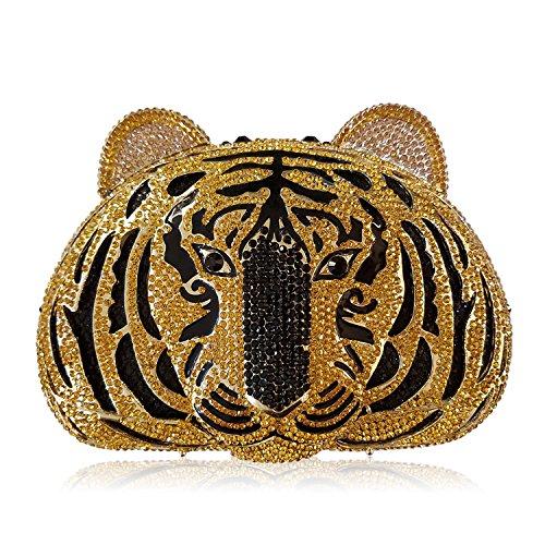 luxe Bag cadre de mariage soirée Ladies C fête de à métallique Pochette préféré sac main sac Rhinestone Tigre femmes de Les dîner qEHzwpS