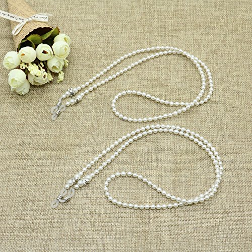 2PCS Pearl Beaded Eyeglass Chain Sunglass Holder Strap Lanyard Necklace By - Chains Sunglasses