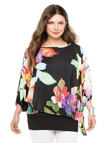 Doris Streich - Camisas - Floral - manga 3/4 - para mujer multicolor multicolor 48