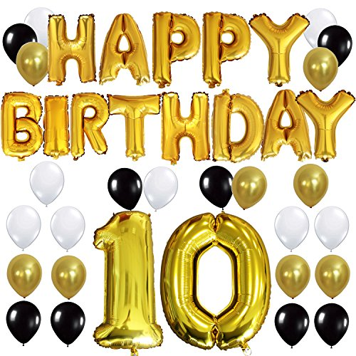 """KUNGYO 10TH Birthday Party Decorations Kit - Happy Birthday Balloon Banner, Number """"10"""" Balloon Mylar Foil, Black Gold White Latex Ballon, Perfect Ten Years Old Party Supplie"""