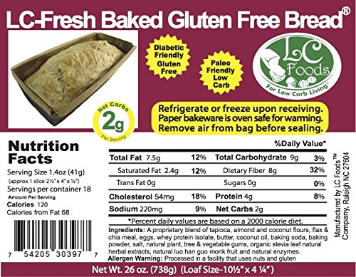 Low Carb Gluten Free White Bread - Fresh Baked - LC Foods - All Natural - No Sugar - High Protein - Diabetic Friendly - Low Carb Bread by LC-Foods