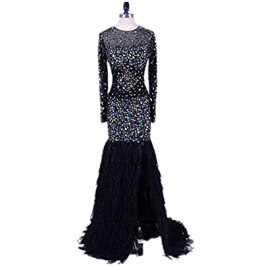 Leogirl Womens Luxury Crystal Illusion Long Prom Dresses With