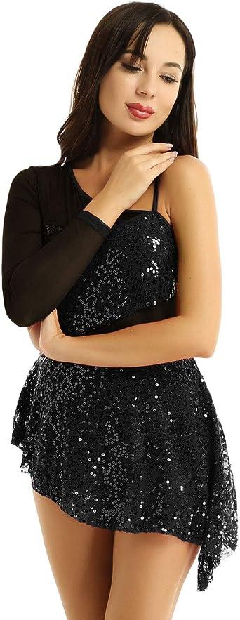Oyolan Femme Robe Danse Classique sans Manches Mousseline de Soie Justaucorps Gymnastique Crois/é Dos Leotard Ballet Gym Yoga Fitness Dancewear S-XL
