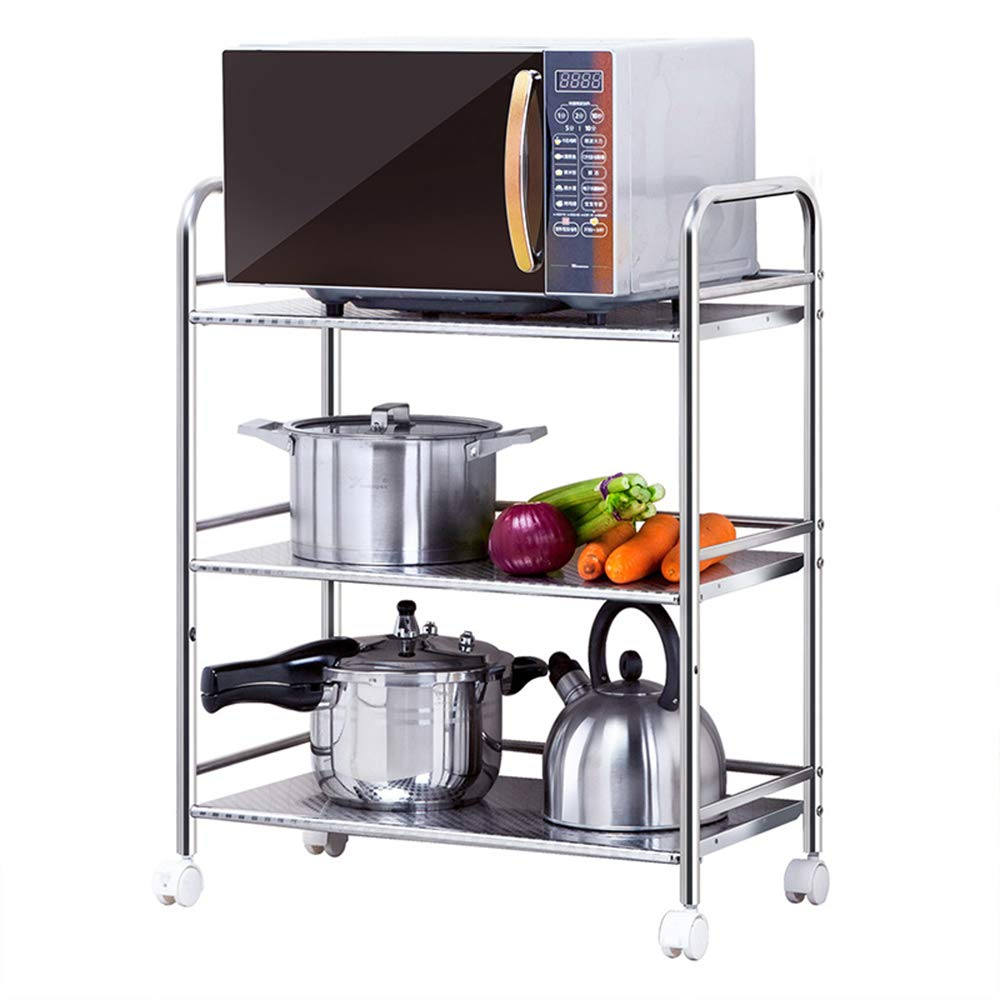MLQ Movable Three-Tier Trolley Microwave Storage Rack, Big Space, Strong Bearing Capacity, Used to Store Vegetables, Fruits, Rice Cookers, 603275Cm