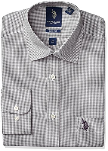 U.S. Polo Assn. Men's Micro Gingham Check Semi Spread Collar Dress Shirt, Black, 16