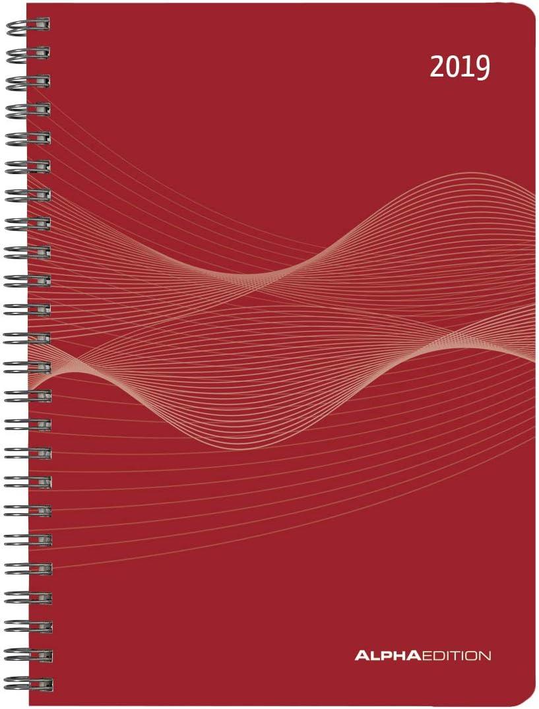 Agenda Settimanale Spiralata Rossa, 2019, 15X21 Cm