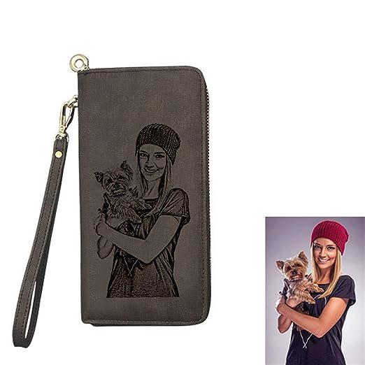 Cartera Billetera Personalizado Foto Grabado Palabras Hombre Plegable Cuero Regalo Personalizado para Familia Novio: Amazon.es: Equipaje