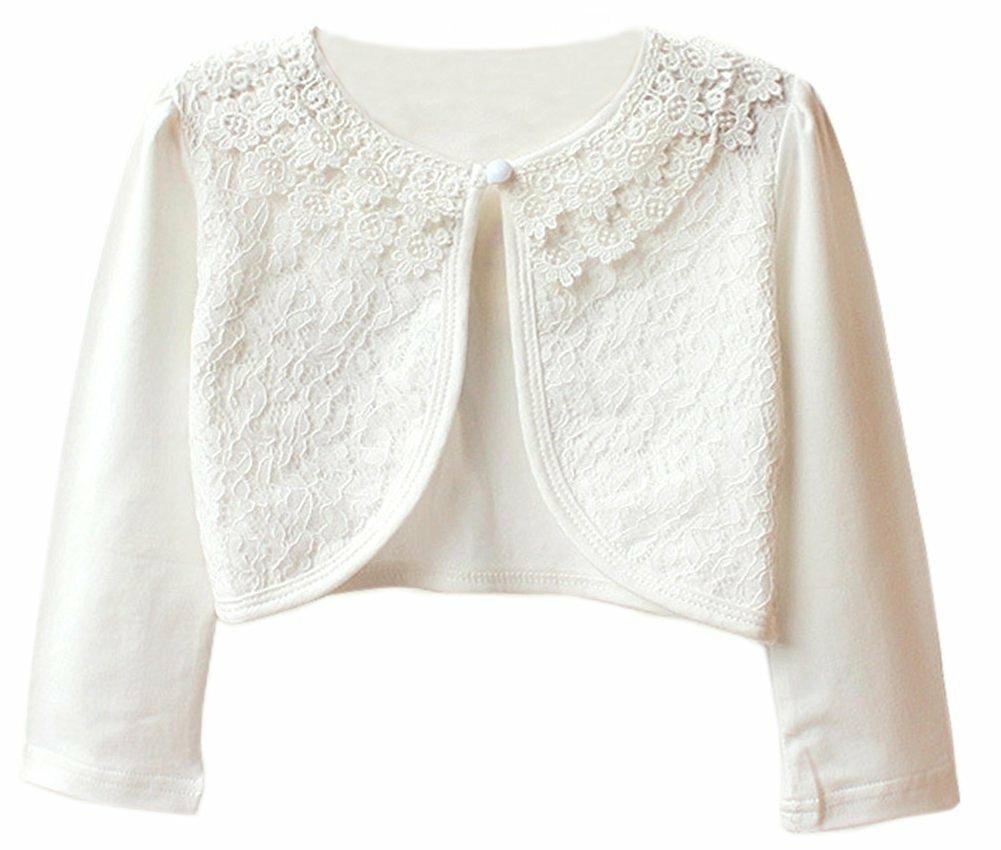 JX Roco Little Girls Long Sleeve Lace Bolero Jacket/Pointelle Shrug Cotton Cardigan Dress Cover Up for Church Wedding White,120=5-6years