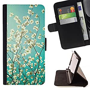 For LG Nexus 5 D820 D821 Case , Sun manzano Flor Azul Blanco- la tarjeta de Crédito Slots PU Funda de cuero Monedero caso cubierta de piel