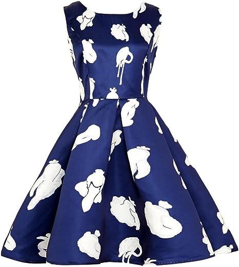 Xinxinyu - Vestido informal para mujer con diseño de flores, falda ...