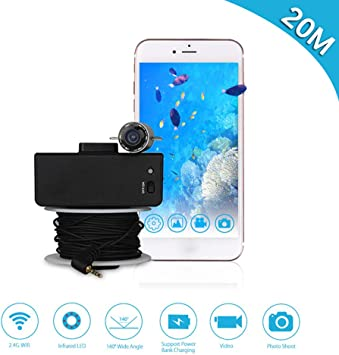 Professional 720P 164ft Cable WiFi 6LED 165/° Wide Angle IP68 Underwater Video Camera Waterproof Camera Portable Fish Finder Camera