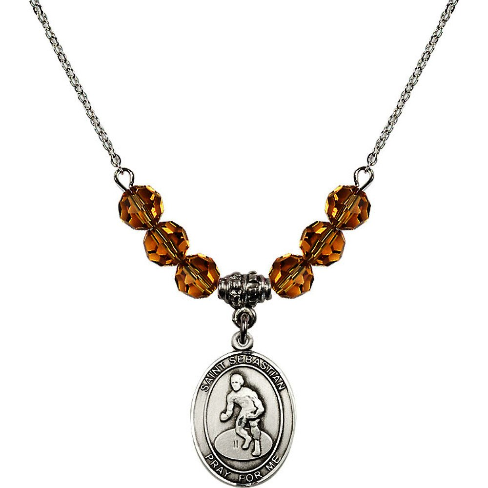 18-Inch Rhodium Plated Necklace with 6mm Yellow November Birth Month Stone Beads and Saint Sebastian/Wrestling Charm