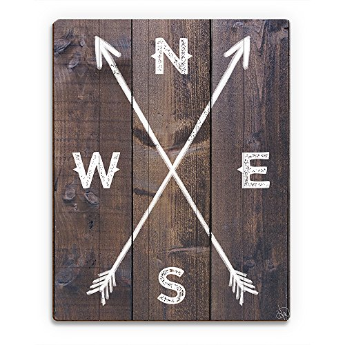 Directional Arrows- North South East West in White on Rustic Wood-pattern Wall Art Print on Wood