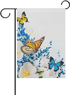 Lennel Giardino di casa Bandiera Banner {Spac} Pollici Fiori Farfalle Decorative House Flag for Wedding Party Home Indoor Outdoor Decor, Colourful, 28x40(in)