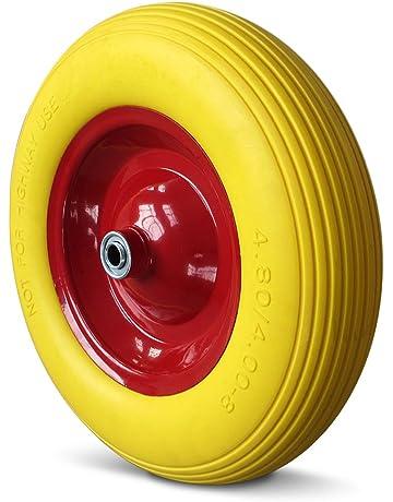 Deuba Rueda para carretilla Amarilla en goma (poliuretano) | Llanta en acero rojo |