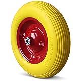 Puncture Proof Wheelbarrow Wheel Replacement Tyre PU 4.80/4.00-8 390 mm + Axle & Steel Rim - Breakdown Proof Wheels
