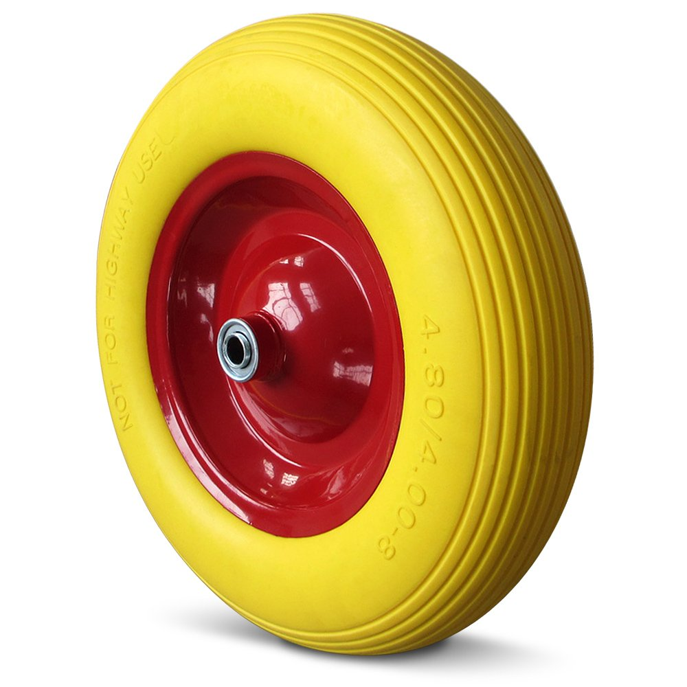 Puncture Proof Wheelbarrow Wheel Replacement Tyre PU 4.80/4.00-8 390 mm + Axle & Steel Rim - Breakdown Proof Wheels Deuba