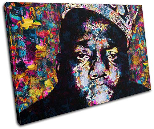 Bold Bloc Design - Notorious Big Biggie Iconic Celebrities 90x60cm Single Canvas Art Print Box Framed Picture Wall Hanging - Hand Made in The UK - Framed and Ready to Hang RC-8669(00B)-SG32-LO-D