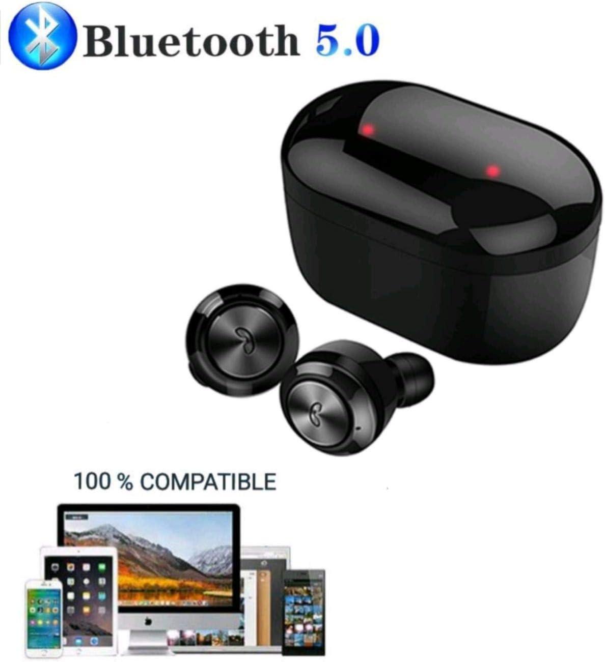 JSG Auriculares Bluetooth 5.0 Future 2020 inalámbricos Mini DT-3 TWS Sport Caja de Carga Y Micrófono Integrado Impermeable al Sudor, Ideal movil, Tablet, pc, Television y Mucho mas (Negro)