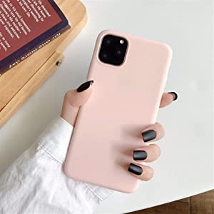 XINHUANG Solid Color Silicone Couples Cases for iPhone XR X XS Max 6 6S 7 8 Plus 11 11Pro Max Cute Candy Color Soft Simple Fashion Phone Case Light Pink, Size : IPhone7/8plus