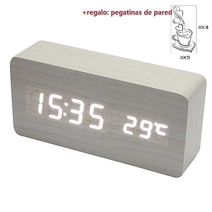 Malloom® madera temperatura Suena control Escritorio electrónica LED reloj despertador digital (blanco y blanco